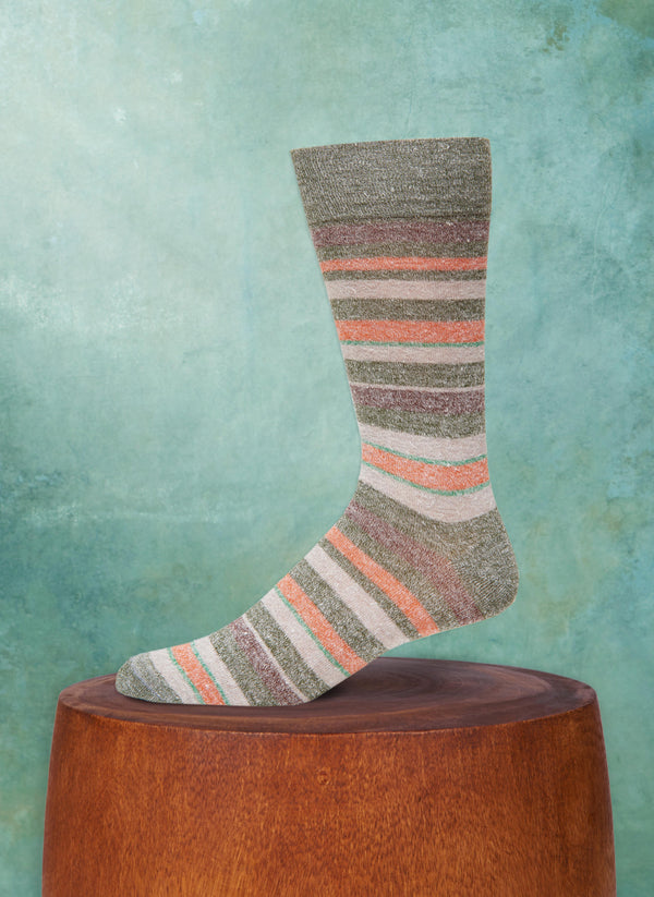 Afromood Multi Stripe Sock in Olive