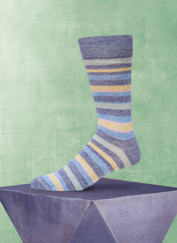 Afromood Multi Stripe Sock in Denim
