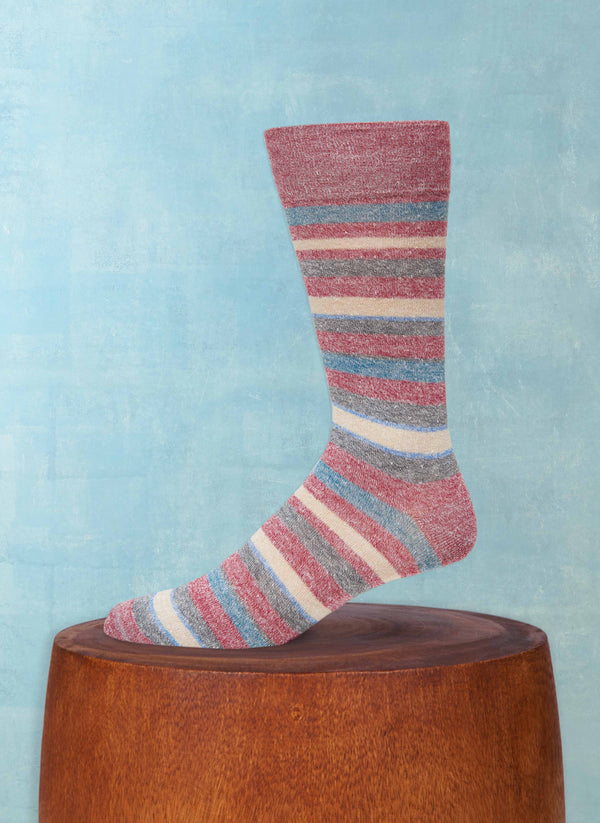 Afromood Multi Stripe Sock in Red