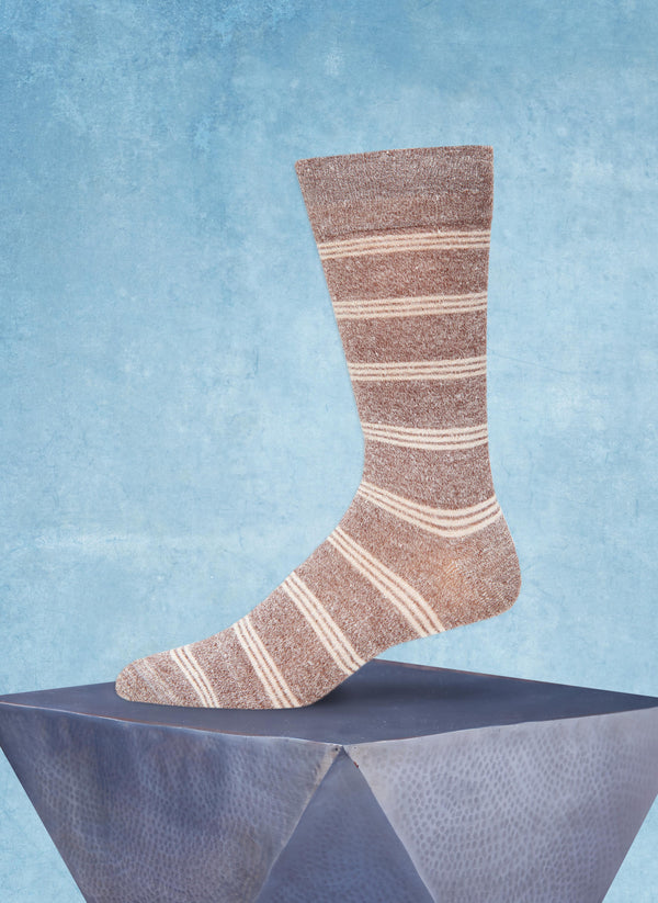 Afromood Tri Stripe Sock in Brown