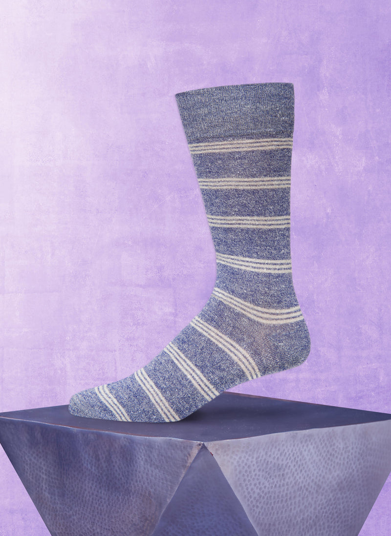 Afromood Tri Stripe Sock in Denim