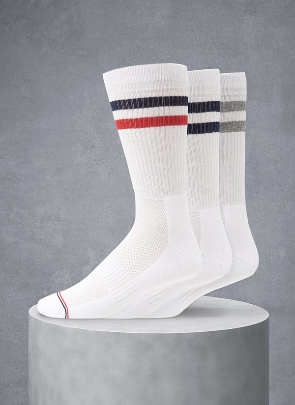 3-Pack Sport Socks Mid-Calf With Red/White/Blue Toe Stripes with Coolmax®