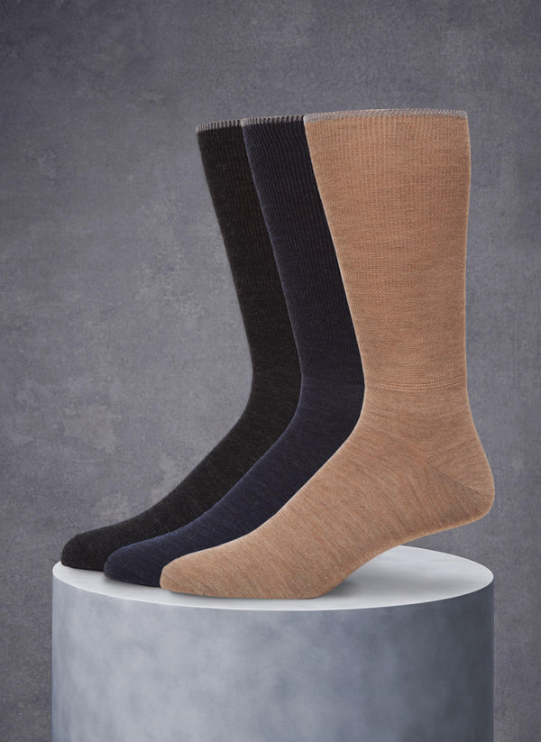 3-Pack Merino Wool 2X1 Socks in Charcoal/Navy/Taupe