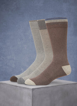 Organic Cotton 3 Pack Fashion Comfort Socks in Taupe