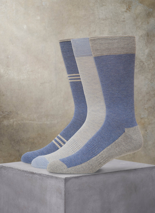 Organic Cotton 3 Pack Fashion Comfort Socks in Blue