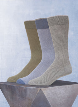 3 Pack Recycled Yarn Sock in Olive