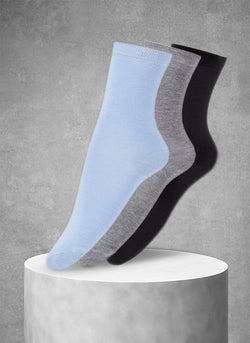 3-Pack Viscose Women's Solid Socks in Light Blue/Grey/Black