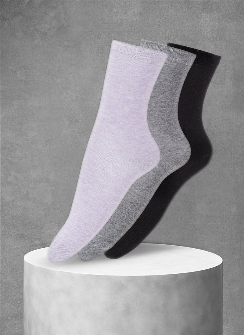 3-Pack Viscose Women's Solid Socks in Lavender