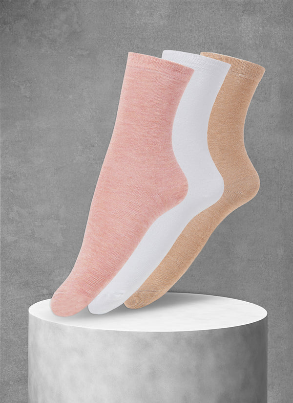 3-Pack Viscose Women's Solid Socks in Pink/Taupe/White