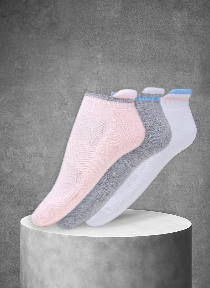 3-Pack Women's Coolmax® Ankle Sport Socks with Cuff Stripes in Pink/Grey/White