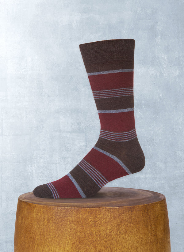 Merino Wool Color Block Stripe Sock in Brown