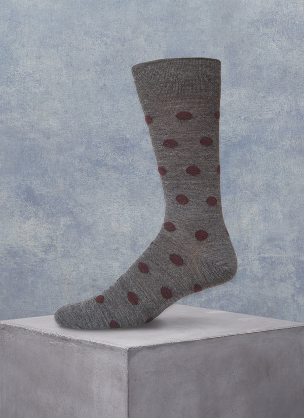 Merino Wool Burgundy Dot Sock in Grey