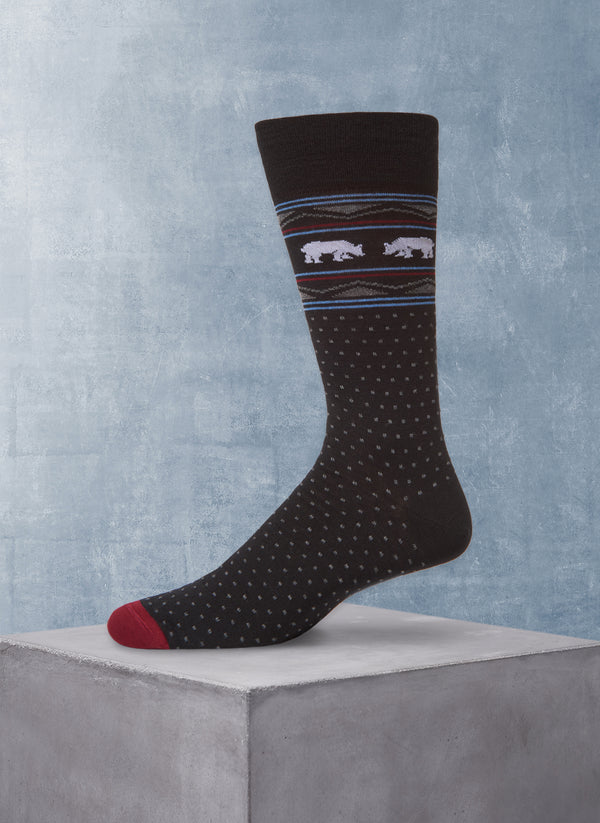Merino Wool Faisaisle Bear Sock in Black