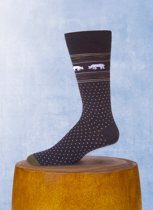 Merino Wool Faisaisle Bear Sock in Navy