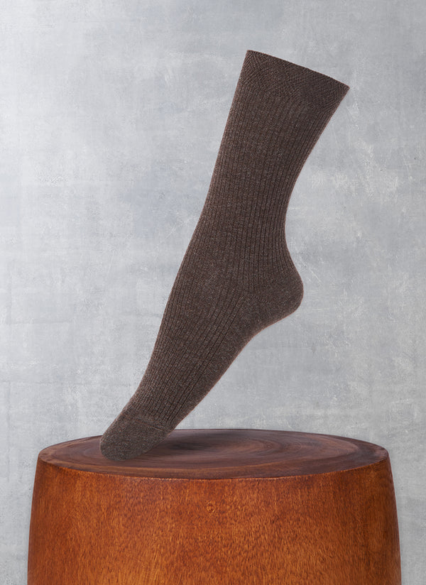 Women's Trouser Ribbed Sock in Brown