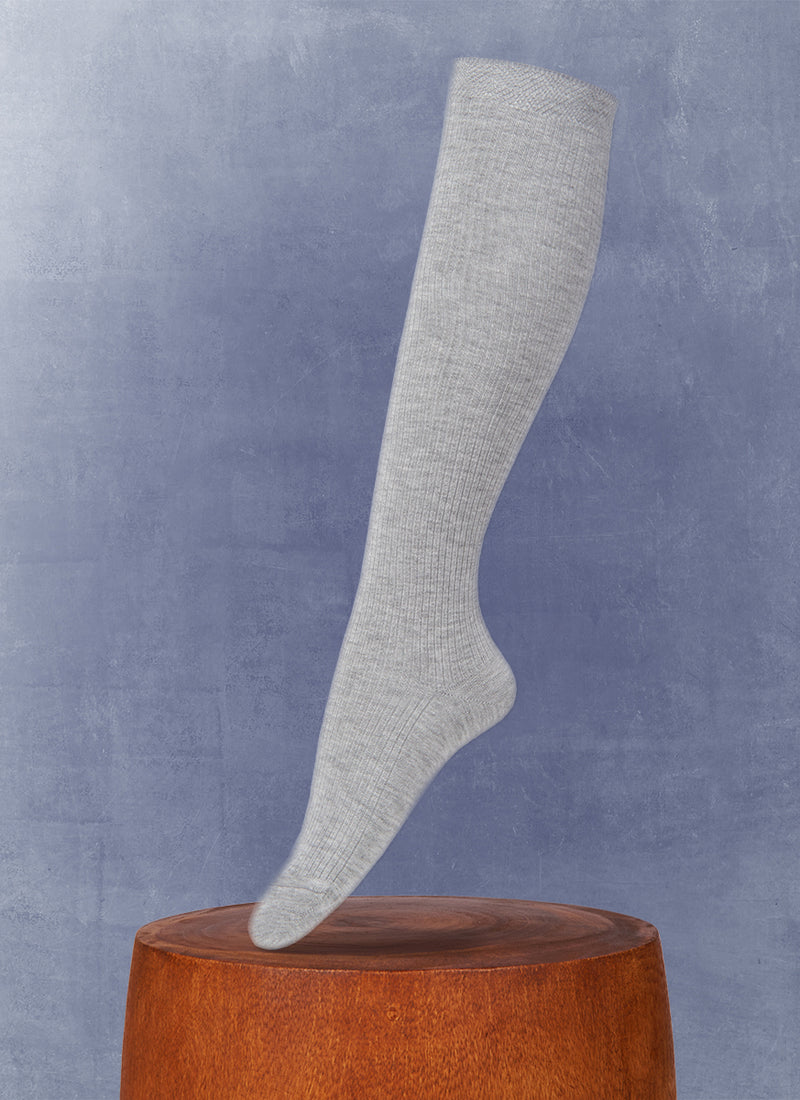 Women's Luxury Viscose Ribbed Knee High Sock in Grey