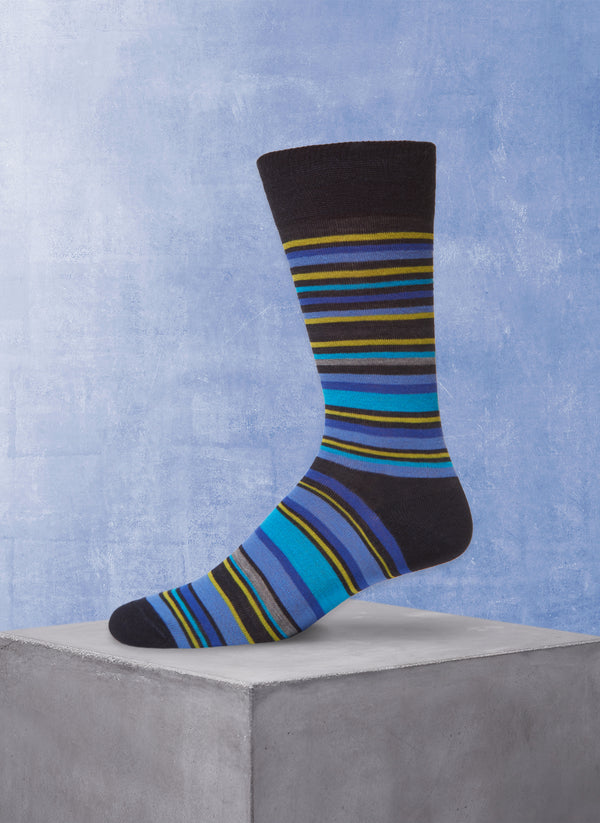Multi Stripe Sock in Navy and Blue