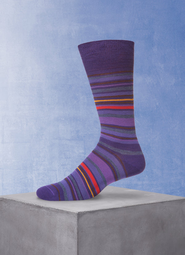 Multi Stripe Sock in Purple