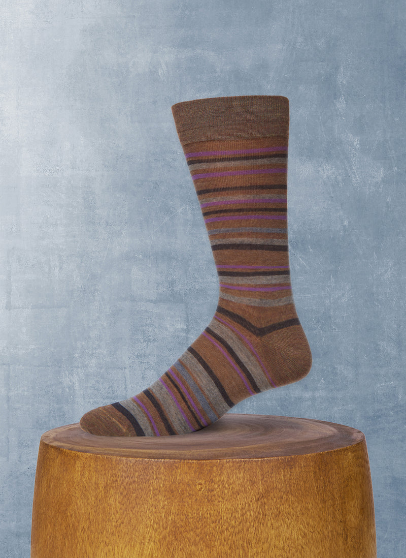 Multi Stripe Sock in Taupe