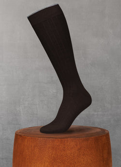 Softest Heather Merino Long Sock in Brown