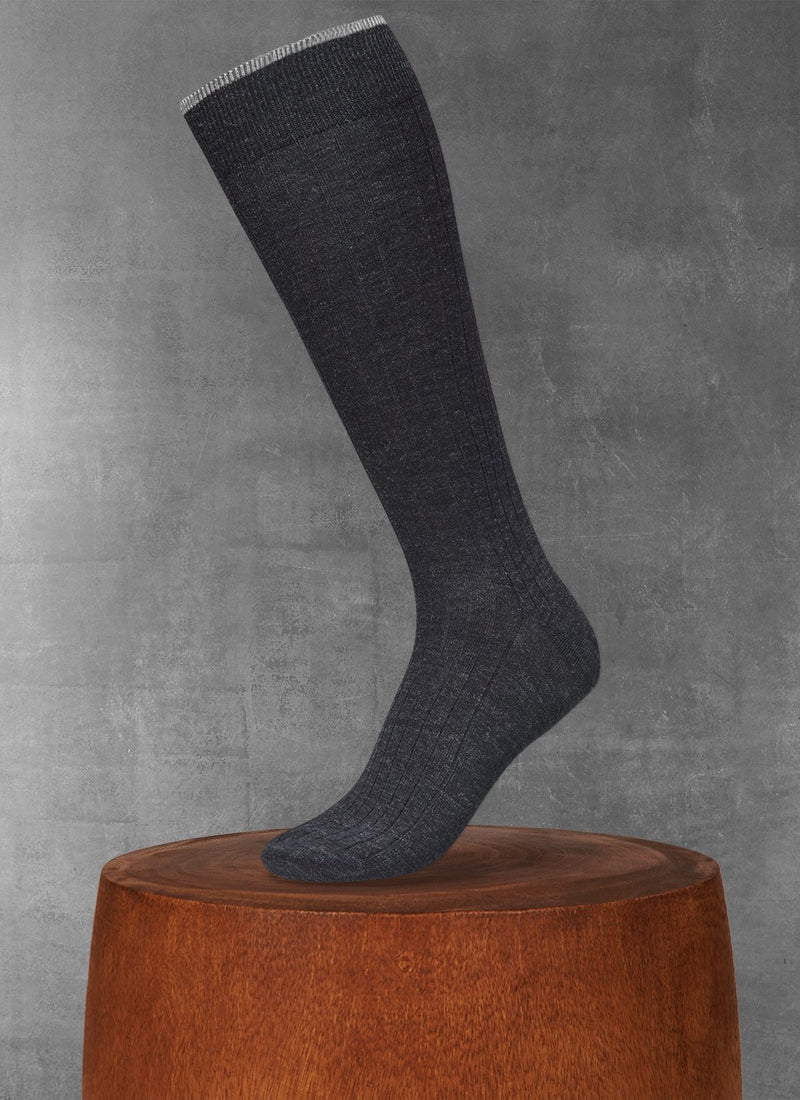 Softest Heather Merino Long Sock in Charcoal