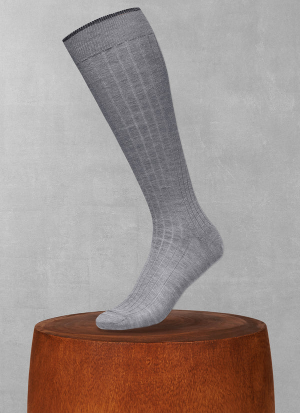 Softest Heather Merino Long Sock in Light Grey