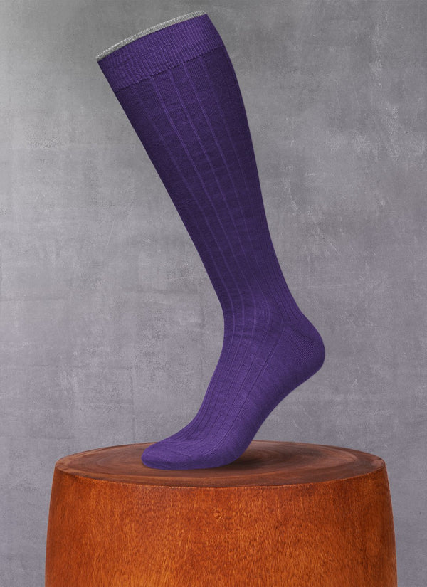 Softest Heather Merino Long Sock in Plum