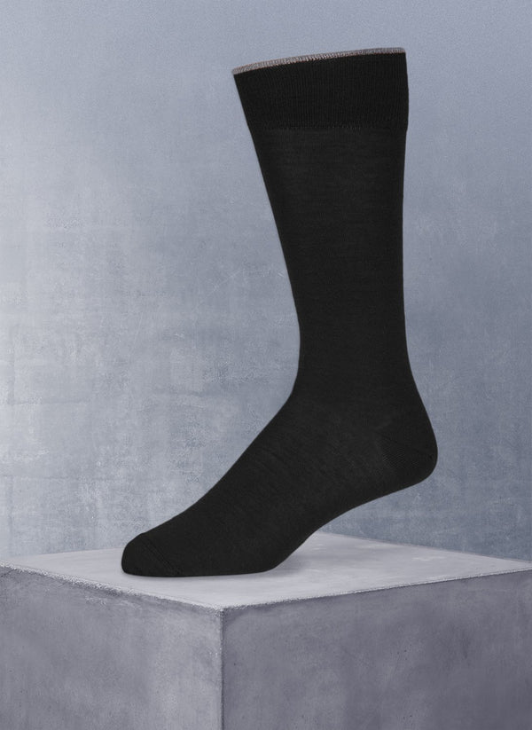 Merino Flat Knit Sock in Black