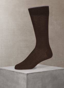 Merino Flat Knit Sock in Brown