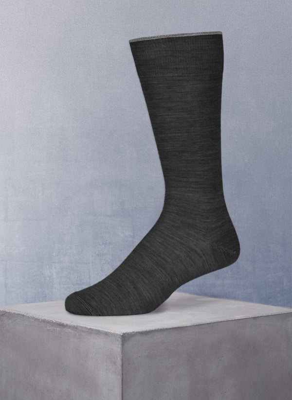 Merino Flat Knit Sock in Charcoal