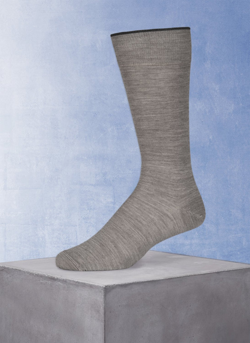 Merino Flat Knit Sock in Light Grey
