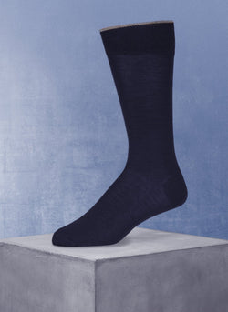 Merino Flat Knit Sock in Navy
