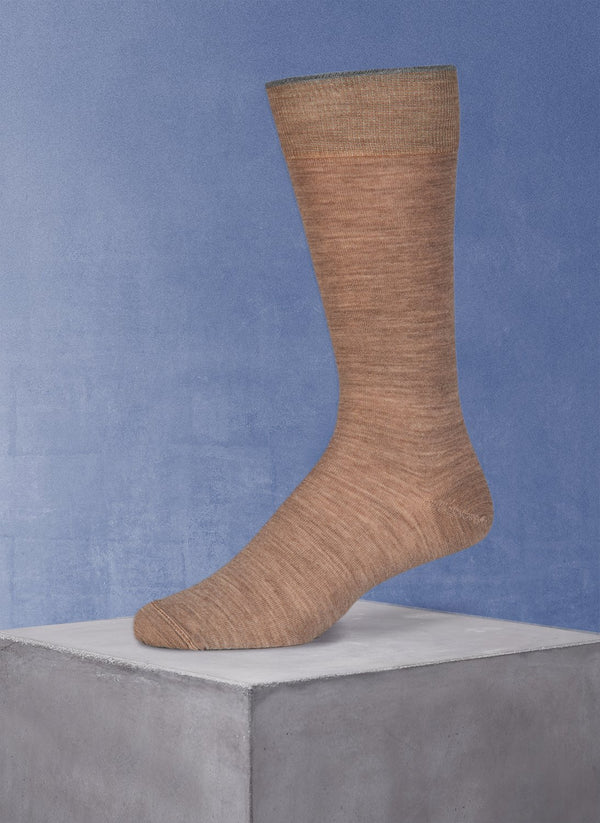 Merino Flat Knit Sock in Taupe