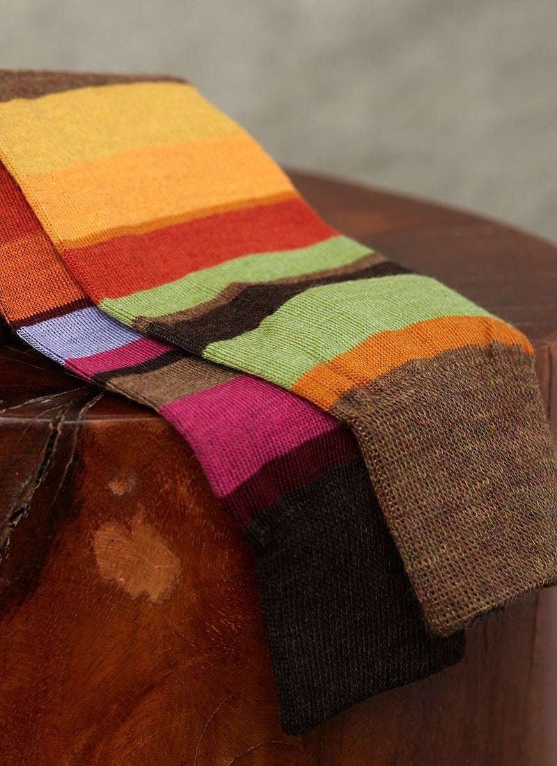 Merino Wool Multi Stripe Sock in Light Brown