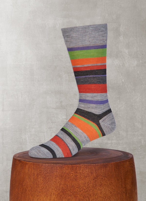 Merino Wool Multi Stripe Sock in Light Grey