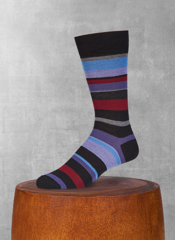 Merino Wool Sock Multi Stripe Sock in Black