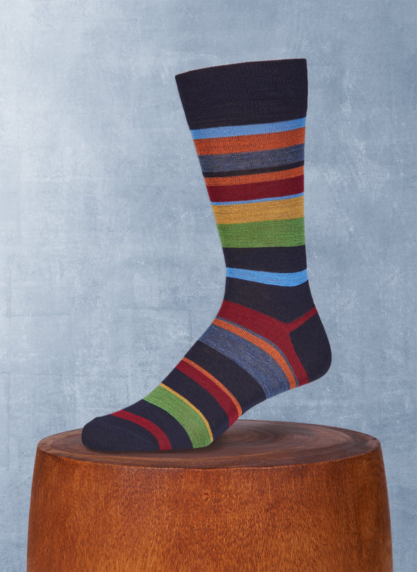 Merino Wool Multi Stripe Sock in Navy