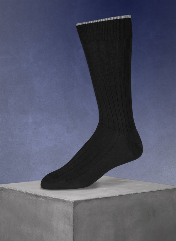 Mercerized Cotton Sock in Black