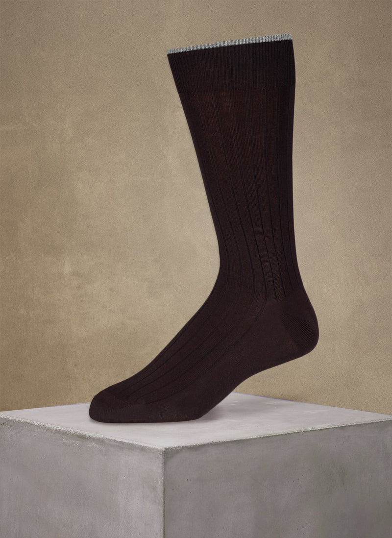 Mercerized Cotton Sock in Brown