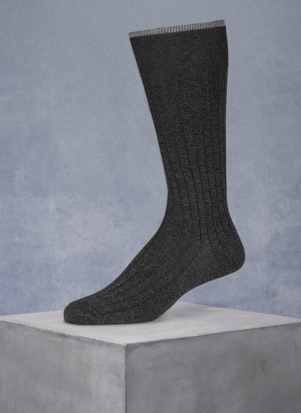 Mercerized Cotton Sock in Heather Charcoal