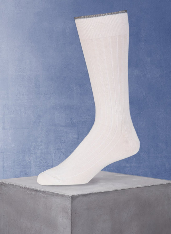 Mercerized Cotton Sock in White