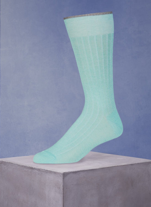 Mercerized Cotton Sock in Heather Aqua