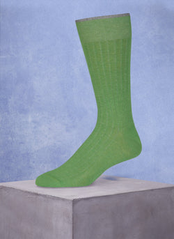 Mercerized Cotton Sock in Heather Green