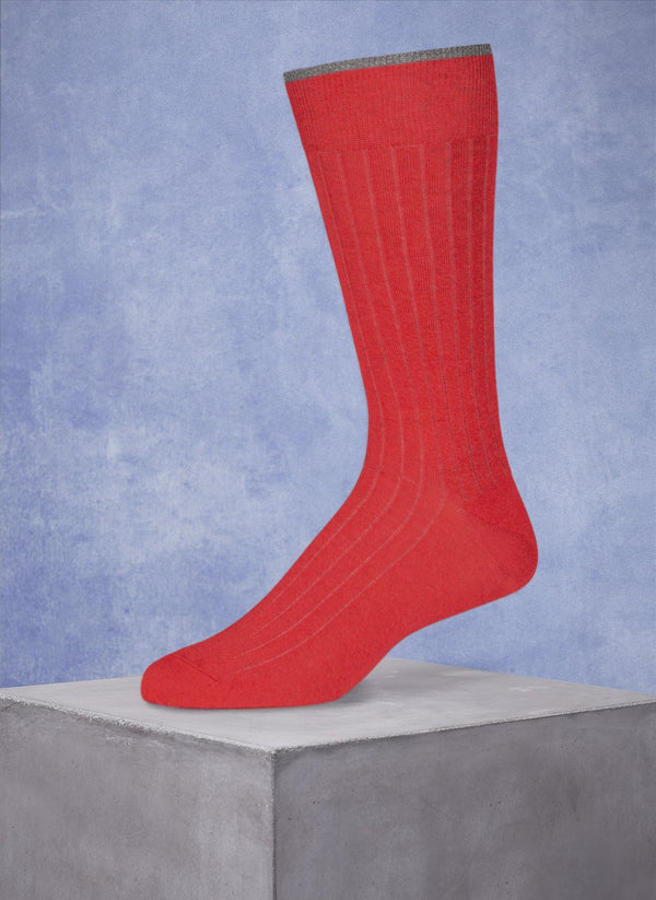 Mercerized Cotton Sock in Heather Tomato