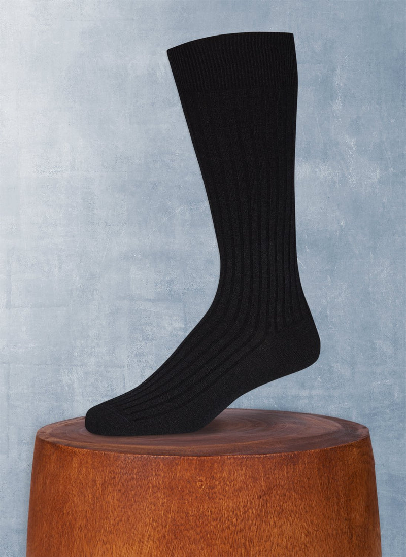 Short Ribbed Egyptian Cotton Sock in Black