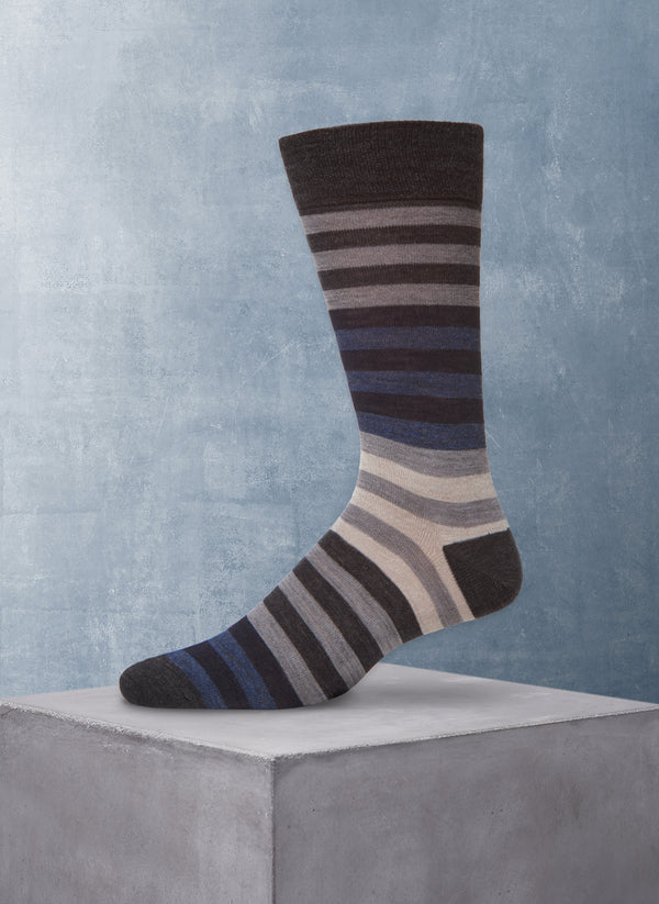 Merino Wool Stripe Sock in Blue