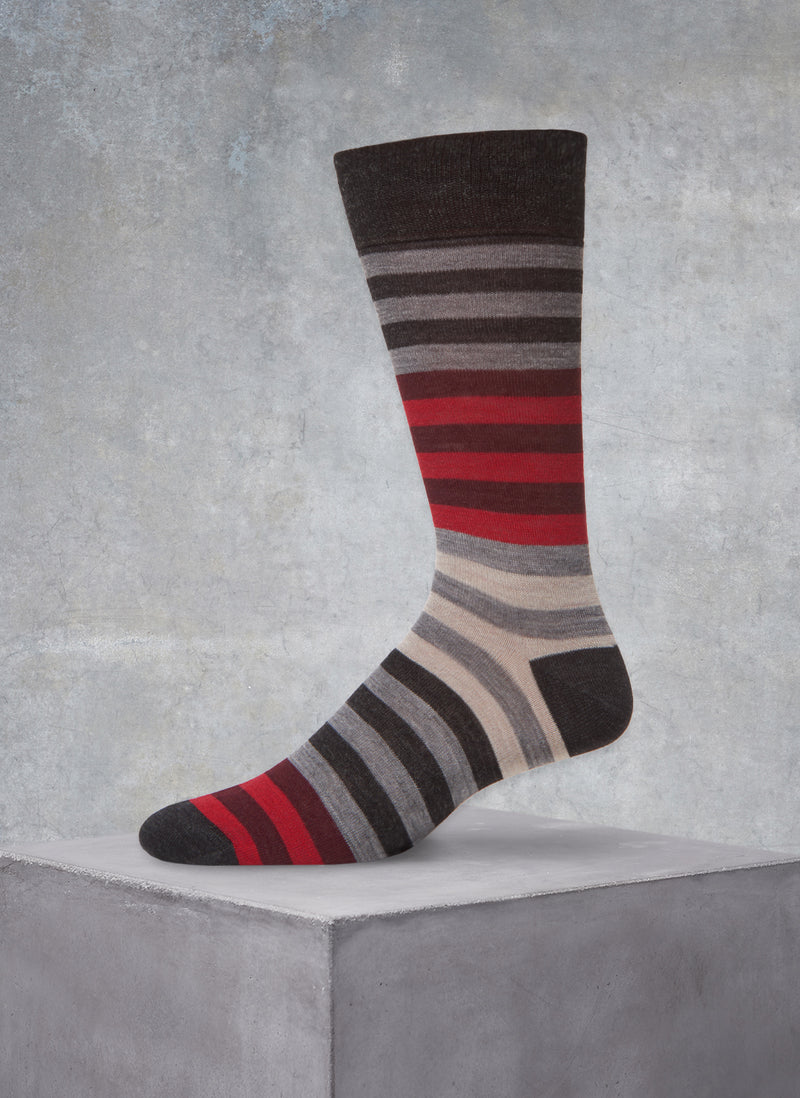 Merino Wool Stripe Sock in Red