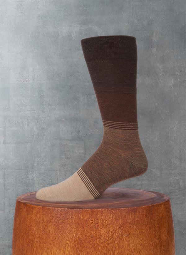 Color Blocking Sock in Brown and Tan