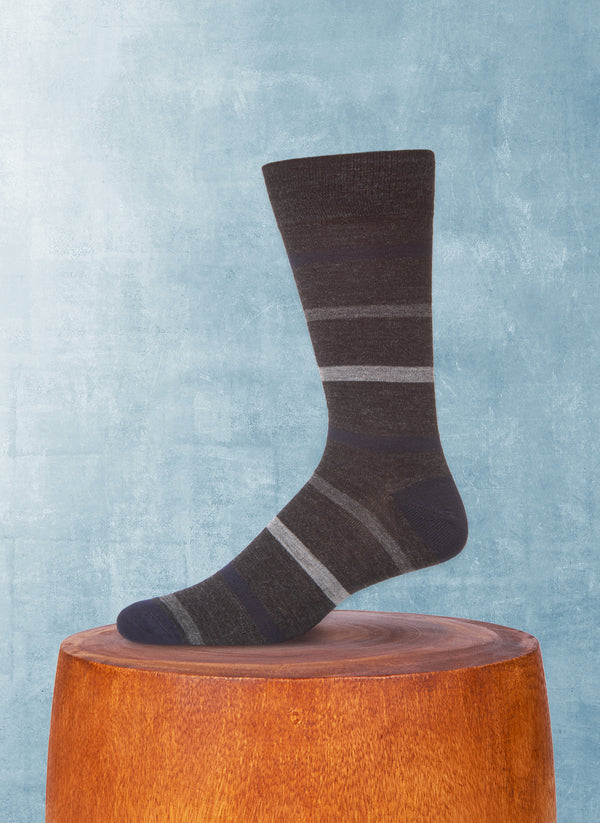 Merino Wool Multi Simple Stripe Sock in Grey