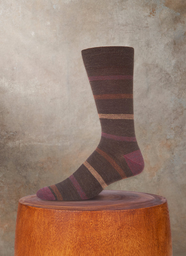 Merino Wool Multi Simple Stripe Sock in Brown